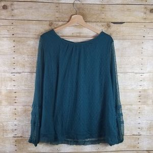 Ava and Viv Women's 1x Green Lace Top Long Sleeve